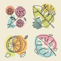 abstract lemon and flowers vector