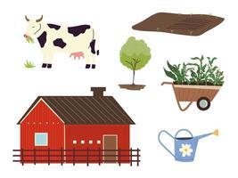 granja y agricultura, granero, vaca, árbol, carretilla y regadera vector