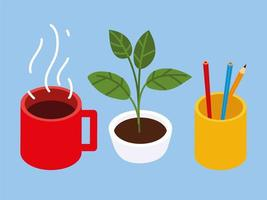 coffee cup, pencil and potted plant icons vector