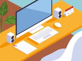 home office workspace, desk, computer, keyboard, calendar and papers vector