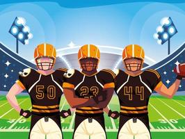 team of american football players, sportsmen with uniforms vector