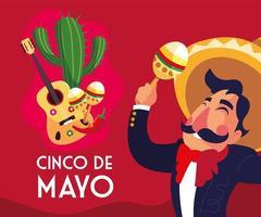tarjeta de felicitación del cinco de mayo con mariachi mexicano vector