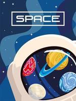 space helmet, moon, planet, cosmos orbit design vector