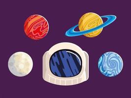 uniforme de casco espacial, luna, sol y planeta, galaxia astronómica vector