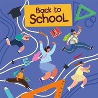 back to school, happy students running with school bag, education elements vector