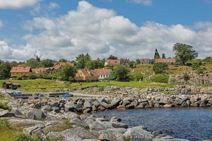 View of village of Svaneke in Denmark photo
