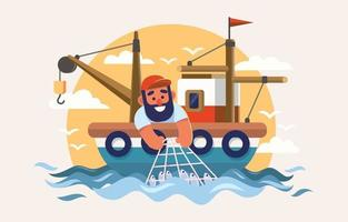 Fisherman in Boat Catch a Lot Fish vector