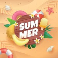 Summer on Board with Fruit and Flower vector