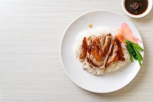 pato asado con arroz foto