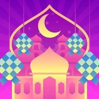 Eid Mubarak with Ketupat vector