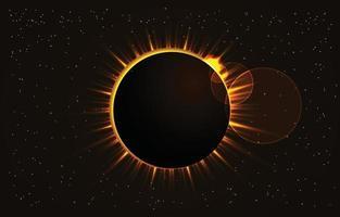 Realistic Space Solar Eclipse Scene vector