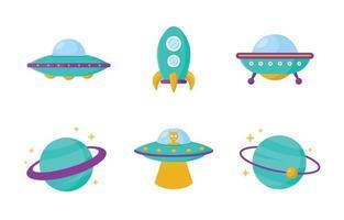 Cartoon UFO Icon Set vector