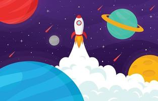 Flat Space Background with Rocket vector
