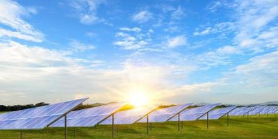 Solar panels or photovoltaic alternative electricity sources, environmentally friendly, sustainable resource concept. photo
