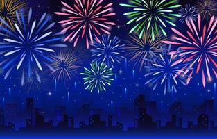 Fireworks with City Background Template vector
