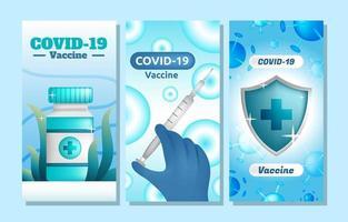 Conjunto de plantillas de banner de vacuna covid 19 vector