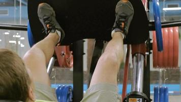 A Man Exercises with Leg Presses video