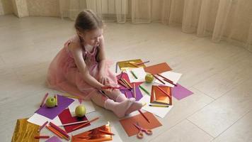 Little Girl Draws on Her Legs video