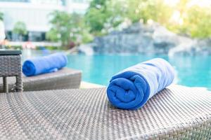 Close-up towel on a beach chair - travel and vacation concept photo
