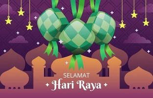 Traditional Ketupat with Mosque and Cloud vector