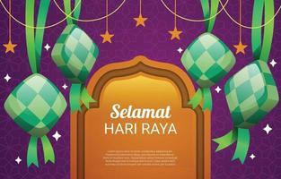 Selamat Hari Raya with Ketupat and Star vector