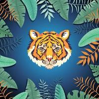 Tiger Head with Leaves vector