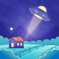 UFO Flying Over the House vector