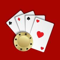 Set of simple playing cards with casino chips on red background, vector illustration