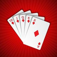 A royal flush of diamonds on red background, winning hands of poker cards, casino playing cards vector