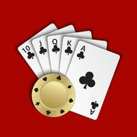 A royal flush of clubs with gold poker chip on red background, winning hands of poker cards, casino playing cards and chip vector