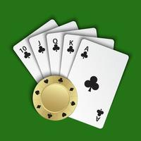 A royal flush of clubs with gold poker chip on green background, winning hands of poker cards, casino playing cards and chip, vector poker symbols
