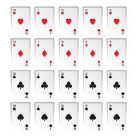 Set of royal flushes isolated on white background, hearts, clubs, diamonds and spades, casino playing cards vector
