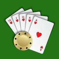 A royal flush of hearts with gold poker chip on green background, winning hands of poker cards, casino playing cards and chip, vector poker symbols