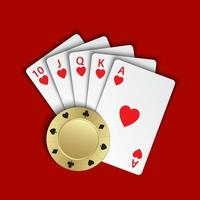 A royal flush of hearts with gold poker chip on red background, winning hands of poker cards, casino playing cards and chip vector