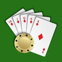 A royal flush of diamonds with gold poker chip on green background, winning hands of poker cards, casino playing cards and chip, vector poker symbols