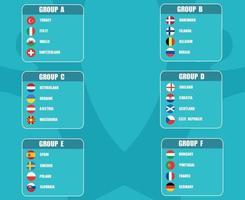 Flags Countries.European soccer final. groups of European football teams vector