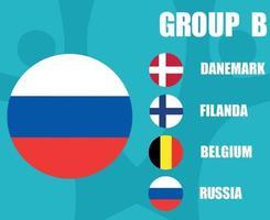 European football 2020 teams.Group B Russia Flag.European soccer final vector
