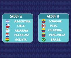 America Latine 2020.America Latine Soccer.groups teams vector