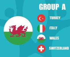 European football 2020 teams.Group A Wales Flag.European soccer final vector