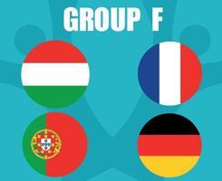 European football 2020 teams.Group F Countries Flags France Germany Portugal Hungary.European soccer final vector