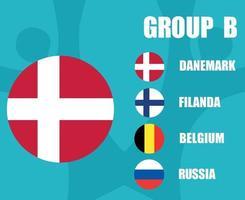 European football 2020 teams.Group B Danemark Flag.European soccer final vector