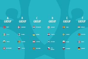 European football 2020.European soccer final.groups teams vector