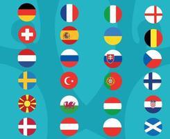 European football 2020.European soccer final.Flags Countries vector