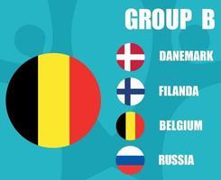 European football 2020 teams.Group B Belgium Flag.European soccer final vector