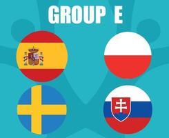equipos de fútbol europeo 2020 banderas de países del grupo e españa polonia suecia eslovaquia final de fútbol europeo vector