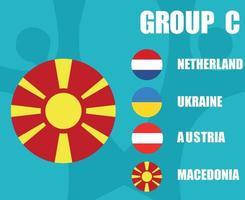 European football 2020 teams.Group C Macedonia Flag.European soccer final vector