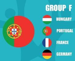 European football 2020 teams.Group F Portugal Flag.European soccer final vector