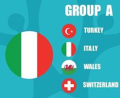 European football 2020 teams.Group A Italy Flag.European soccer final vector