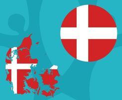European football 2020 teams.European soccer final.Danemark map vector