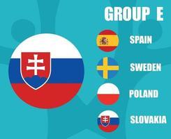 European football 2020 teams.Group E Slovakia Flag.European soccer final vector